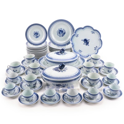 "Royal Copenhagen ""Tranquebar Blue"" Dinnerware with Other Dinnerware"
