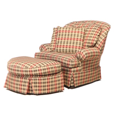 Craftmaster Furniture Corp. Plaid Easy Armchair and Ottoman