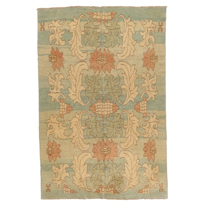 6'6 x 9'9 Hand-Knotted Turkish Donegal Style Oushak Area Rug