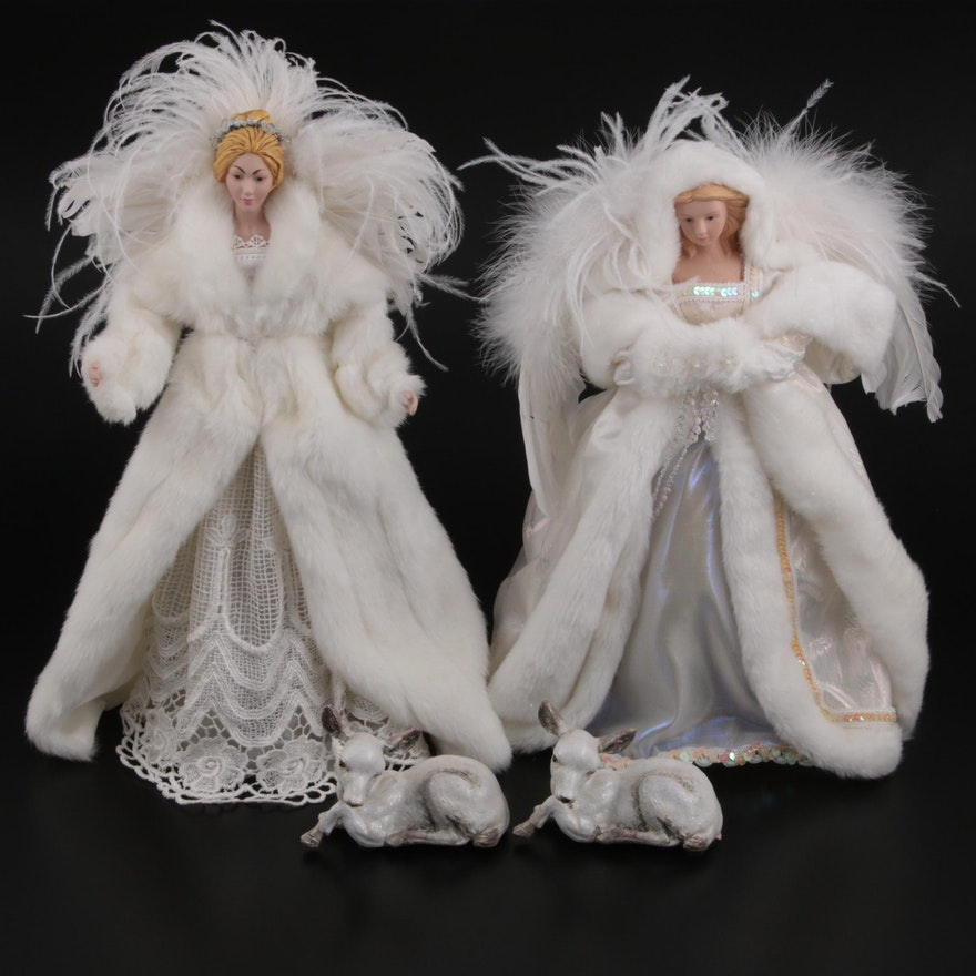 The Silky Way Angel Christmas Tree Toppers and Lamb Figurines