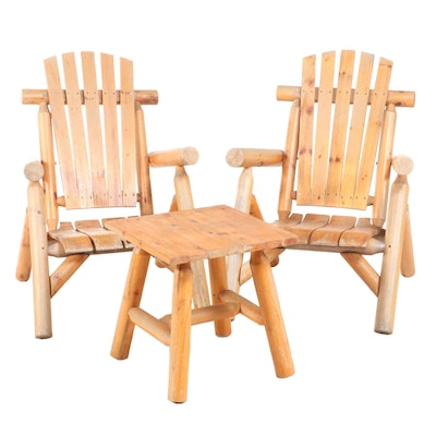 Pair of Adirondack Style Pine Patio Armchairs Plus Side Table