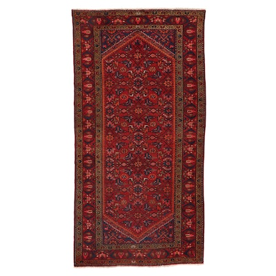 5'2 x 10'3 Hand-Knotted Persian Zanjan Pictorial Area Rug