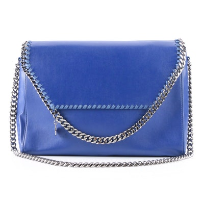 Stella McCartney Falabella Flap Front Bag in Blue Faux Leather
