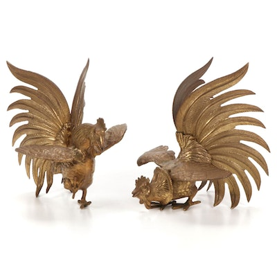 Cast Brass Rooster Figurines, 1960s