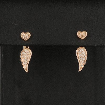 10K Diamond Heart Stud Earrings with Wing Drop Enhancers