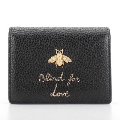 Gucci Animalier Flap Blind For Love Card Case in Black Pebble Grain Leather