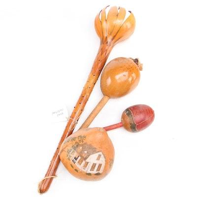 South American and Folk Art Style Gourd Maracas and Décor