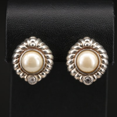 Judith Ripka Sterling Sapphire and Imitation Pearl Button Earrings