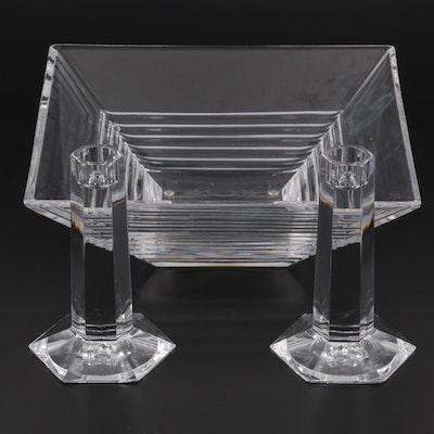 "Tiffany & Co. Square Crystal Bowl and ""Frank Lloyd Wright"" Crystal Candlesticks"