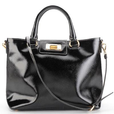 Prada Small Open Convertible Tote Bag in Black Patent Saffiano Leather
