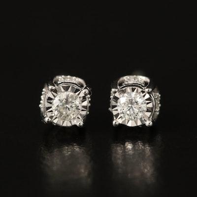 10K 0.22 CTW Diamond Illusion Set Stud Earrings