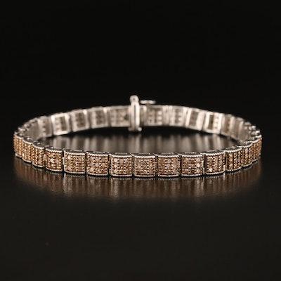 Sterling 1.90 CTW Diamond Square Link Bracelet