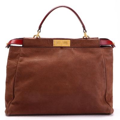 Fendi Peekaboo Tote in Brown and Burgundy Leather