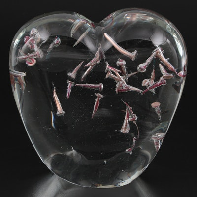 """Alison Ruzsa """"Heart Attack"""" Studio Art Glass Paperweight with Nail Inclusions"""