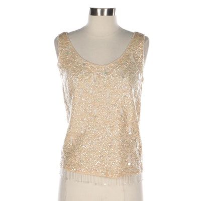 Sequined and Beaded Wool Blend Knit Shell