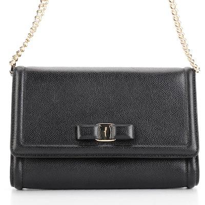 Salvatore Ferragamo Ginny Black Grained Leather Small Flap Front Crossbody Bag
