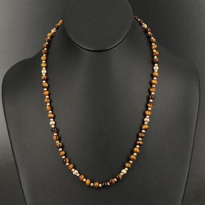 14K Tiger's Eye Beaded Necklace