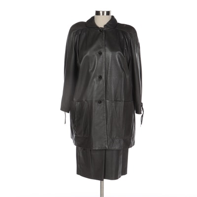 Valentino Black Leather Jacket with Asymmetrical Ruffled Skirt