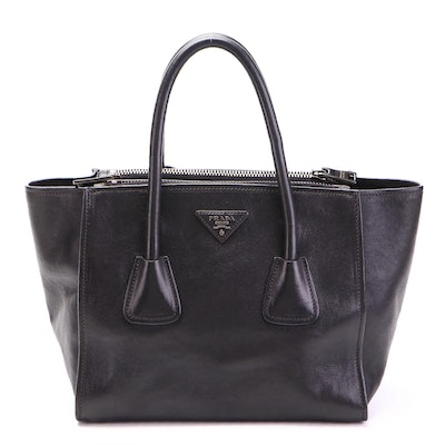 Prada Twin Pocket Small Tote in Glace Calfskin Leather