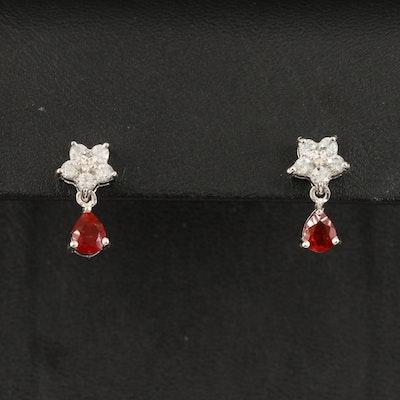 Sterling Fire Opal and Zircon Stud Earrings