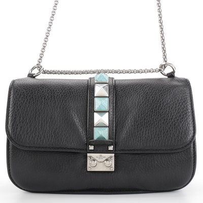 Valentino Glam Rockstud Flap Front Shoulder Bag in Black Pebble Grain Leather