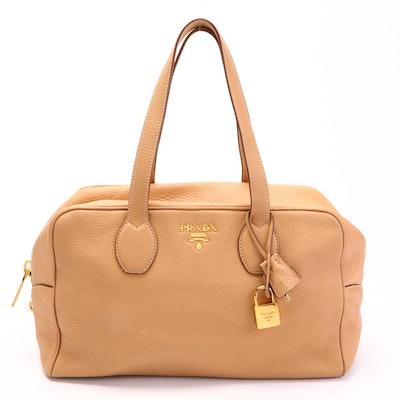 Prada Bauletto Large Bag in Vitello Daino Leather