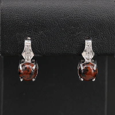 Sterling Mahogany Obsidian and Topaz Earrings