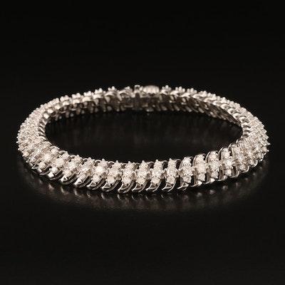 Sterling 2.95 CTW Diamond 'S' Link Bracelet