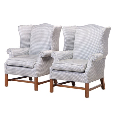 Pair of Chippendale Style Custom-Upholstered Cherrywood Wingback Armchairs