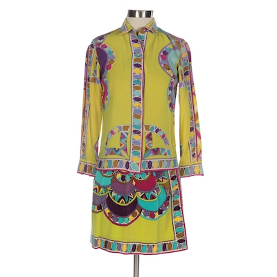 Emilio Pucci Psychedelic Print Silk Shirt and Cotton Velvet Skirt