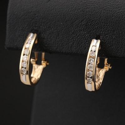14K Channel Set 0.45 CTW Diamond J Hoop Earrings