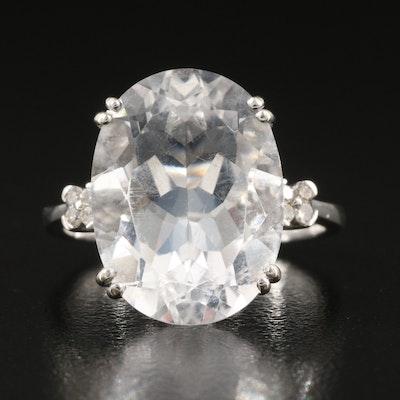 10K 9.02 CT Rock Crystal Quartz, Diamond and Garnet Ring