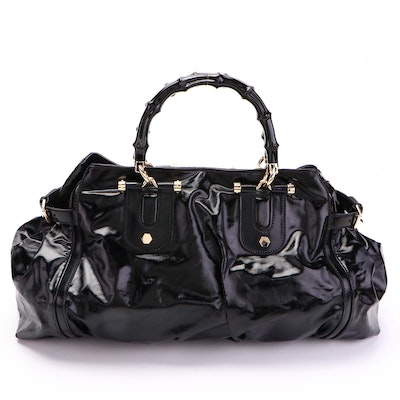 Gucci Pop Bamboo Tote in Black Dialux Coated Canvas and Glazed Leather