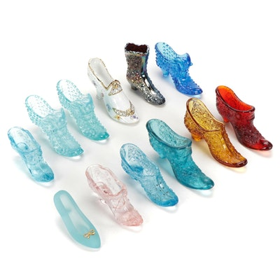 Fenton Art Glass and Ceramic High Heel Shoe Figurines and Others