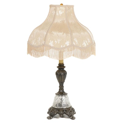 Victorian Style Fringe Shade Table Lamp, Late 20th Century