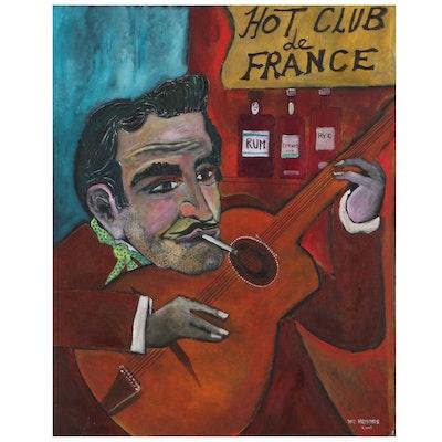 "W. C. Hemming Folk Art Oil Painting ""Hot Club de France,"" 2004"