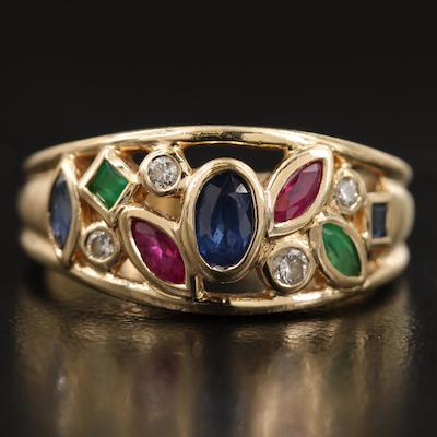 14K Sapphire, Ruby, Emerald and Diamond Openwork Tapered Ring