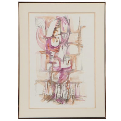 Lianna Dilian Abstract Hand-Colored Offset Lithograph