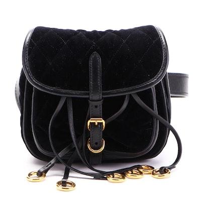 Prada Corsaire Belt Bag in Quilted Velvet and Calfskin Leather