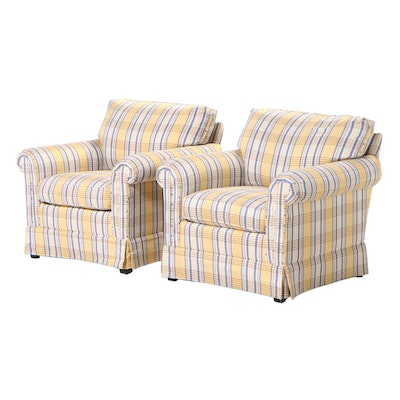Pair of Taylor-King Furniture Custom-Upholstered Easy Armchairs