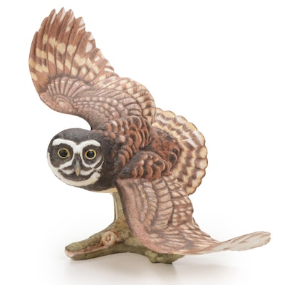 """Franklin Mint Porcelain """"The Spectacled Owl"""" by George McMonigle, 1990"""