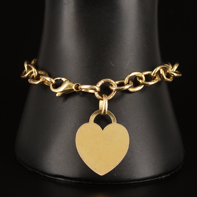 14K Cable Chain Bracelet with Heart Tag