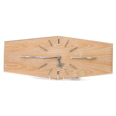 Mid Century Modern Oak Veneered Wall Clock, Mid-20th Century