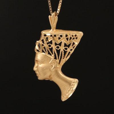 14K Nefertiti Openwork Pendant Necklace