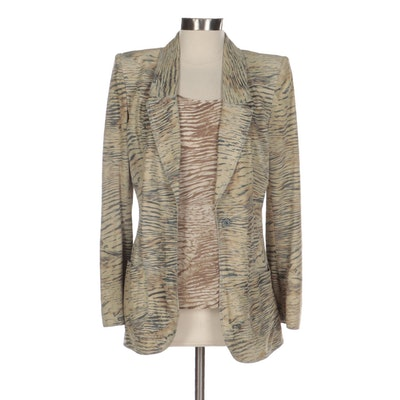 Emanuel Ungaro Printed Lambskin Jacket and Silk Shell