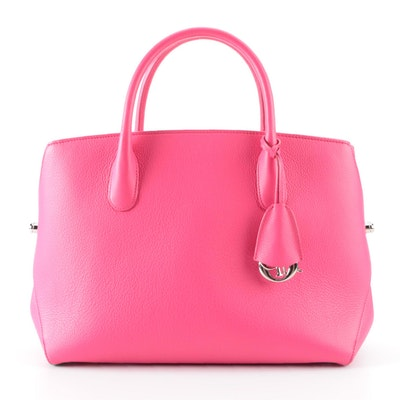 Christian Dior Medium Bar Bag in Pink Pebble Grain Leather
