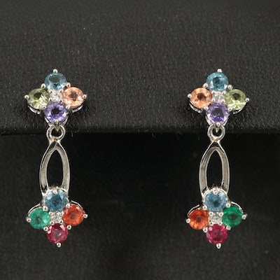 Sterling Multicolored Gemstone Drop Earrings Including Sapphire and Peridot
