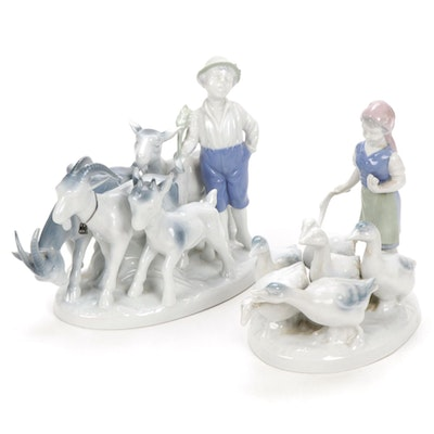 """Gerold Porzellan """"Girl with Geese"""" and """"Boy with Goats"""" Porcelain Figurines"""