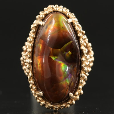 14K Fire Agate Ring with Granulation