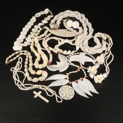 Pearl Mother of Pearl and Coral Assorted Jewelry